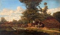 le bûcheron et sa famille à l'orée de la forêt by camille flers