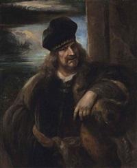 portrait of a man, half-length, in a fur coat and a velvet cap, an extensive landscape beyond by jan lievens