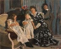 la famille de lucien simon: jeanne, paul, lucienne et charlotte by lucien simon
