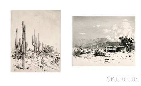 indian home - salt river mountains arizona and (on) road to apache reservation, arizona (2 works) by george elbert burr