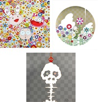 kaikai kiki and me - for better or worse, in good time and bad. the weather is fine/ floating campsite/ dokuro silver (set of 3) by takashi murakami