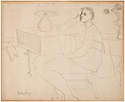 thoughtful girl by milton avery
