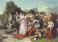 queen elizabeth i and sir walter raleigh by emanuel gottlieb leutze