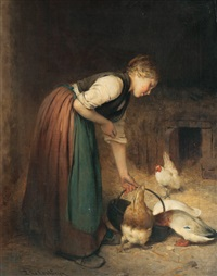girl and fowl by philibert-leon couturier