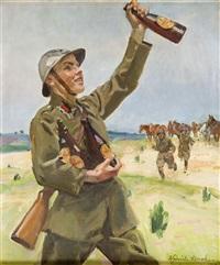 piechur z butelkami piwa by woiciech (aldabert) ritter von kossak