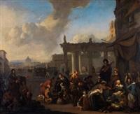 scène de marché à rome by johannes lingelbach