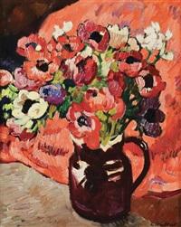 bouquet d'anémones au fond rouge by louis valtat
