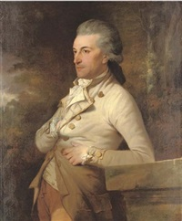 portrait of a gentleman in a cream coat and waistcoat with gold buttons and trim by william young ottley