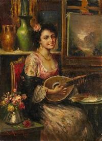 jeune musicienne dans l'atelier du peintre by antonio mancini