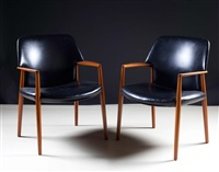 open armchairs (pair) by ejnar larsen and aksel bender madsen