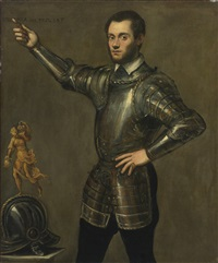 portrait of a nobleman in armour, standing three quarter length, beside him his helmet (collab. w/studio) by jacopo robusti tintoretto