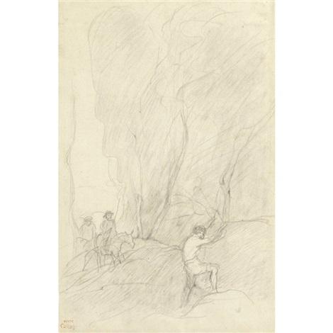 cavalier et boûcheron by jean baptiste camille corot