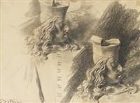 deux études d'après le buste du cardinal de médicis du bernini et deux études de nus féminins (recto-verso study) by giovanni boldini