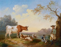 herdsmen with their livestock by a river by leopold heinrich vöscher
