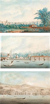 vues du bosphore (3 works) by antoine ignace melling