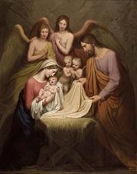 die heilige familie mit engeln by josef arnold