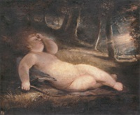 cupid asleep in a woodland clearing by john jackson