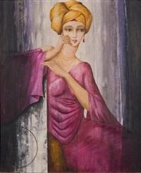 portrait de femme au turban jaune by philippe augé