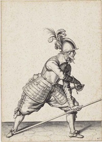the exercise of armes: charge your pike at the right foote and draw your sword by jacques de gheyn ii