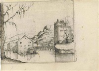 river landscape with two buildings connected by a bridge, the conversion of saint paul and large tree and castle on a lake (3 works) by augustin hirschvogel