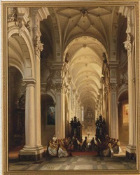 an evening service in the church at averbode, belgium by jules victor genisson