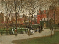 a park in new york by paul cornoyer