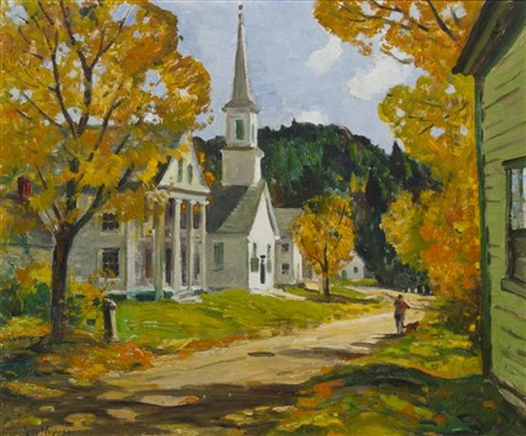 autumn days village of west dover vermont by guy carleton wiggins