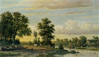 a river landscape by johannes jacobus (jan) heppener