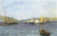harbor scene by frederick j. sang