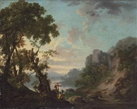 wooded landscape with a lake, anglers in the foreground by george barret