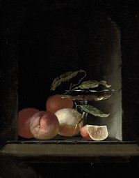 a glass roemer, vine leaves, and oranges in a stone niche by juriaen van streeck