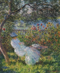 alice hoschedé au jardin by claude monet