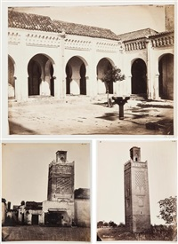 monuments arabes de tlemcen: minaret d'agadir, mosquée sidi bel hassen, cour de la mosquée bel hassen (5 works) by joseph pedra