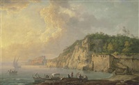 the bay of baiae, with elegant figures resting on the shore, with castello aragonese in the distance by carlo bonavia