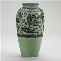 tall decorated mat vase with foliate pattern by william e. hentschel