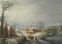 travellers passing through a village in winter by joos de momper the younger