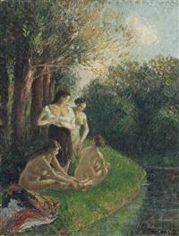 quatre baigneuses discutant au bord de l'eau by camille pissarro