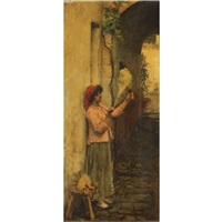 a neapolitan flax spinner by john william waterhouse