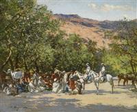 halt in the desert by victor pierre huguet