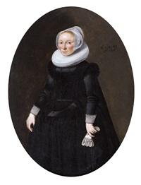 portrait d'une dame âgée de 45 ans by dirck dircksz van santvoort