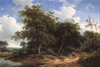chemin animé conduisant à la rivière by h. koekkoek