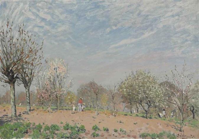 pommiers en fleurs louveciennes by alfred sisley