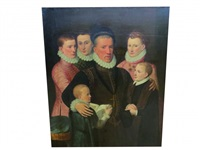 portrait de george, viiè lord seton et ses enfants: robert, jean, alexandre, guillaume et marguerit by frans pourbus (-unattributable)