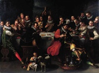 a nobleman with distinguished guests at a banquet by joos van winghe