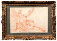 étude d'homme assis accoudé un bâton à la main (study) by etienne jeaurat