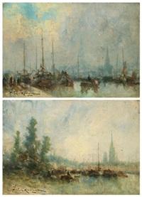 vues du port de rouen (2 works) by jean etienne karnec