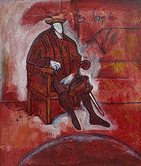seated man in red (after titian) by francis newton souza