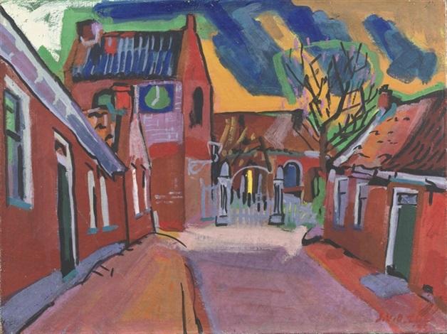a village street ezinge groningen by jan van der zee