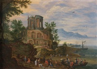 retour de pêche avec le temple de vesta à tivoli by jan brueghel the younger
