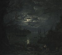 marine au clair de lune by jean henry d' arles